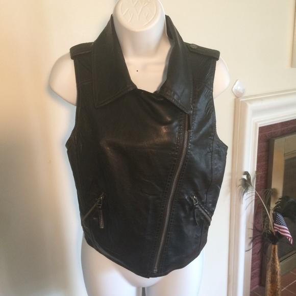 XHILARATION Jackets & Blazers - SMALL  LEATHER LIKE VEST .BLACK CYCLE READY FOR .